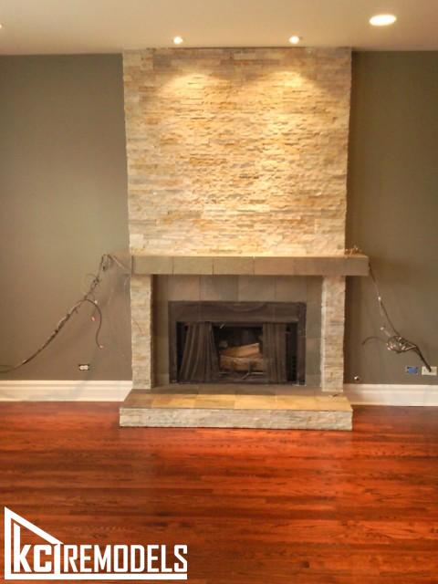 Hardwood flooring with fireplace tile