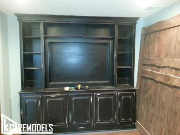 Custom distressed entertainment center