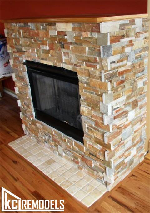 Stone fireplace tile